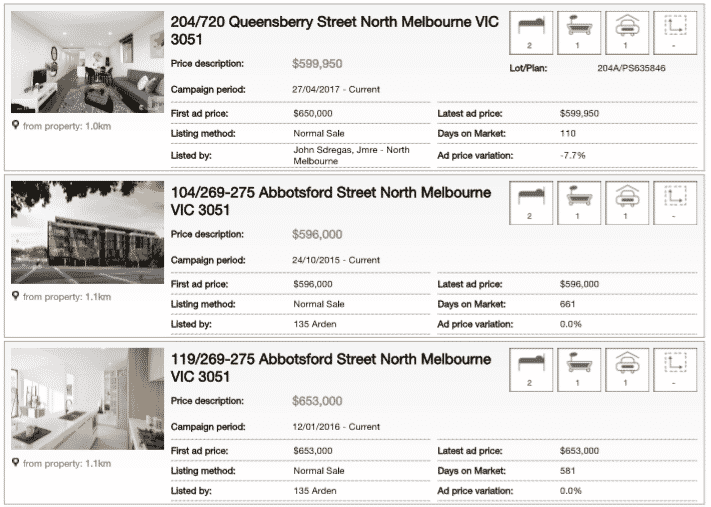 Section of property report showing properties for sale in the local area
